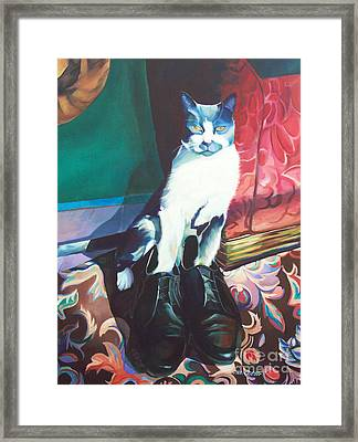 Puss In Shoes.  Framed Print