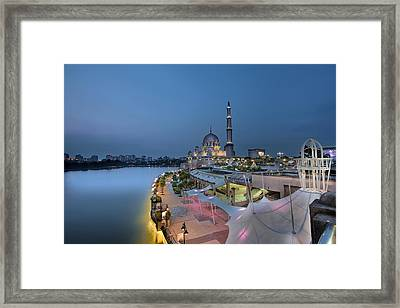 Putra Mosque At Blue Hour Framed Print by David Gn