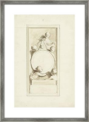Putti Around A Medallion, Dionys Van Nijmegen Framed Print by Quint Lox