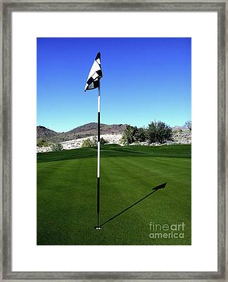 Putting Green And Flag On Golf Course Framed Print