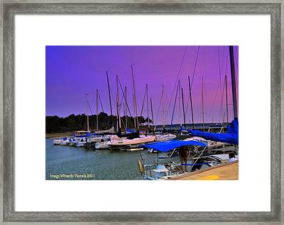 Putting The Sails To Bed At Sunset Framed Print