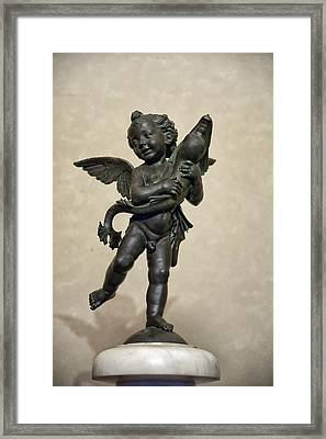 Putto With Dolphin By Verrocchio Framed Print by Melany Sarafis
