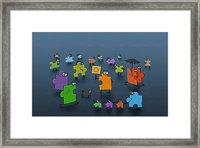 Puzzle Family Framed Print
