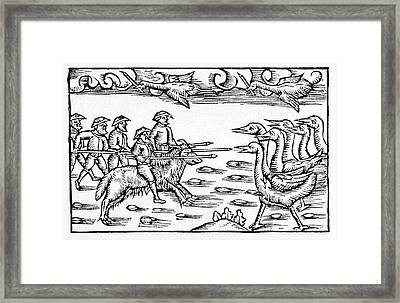 Pygmies Fighting Cranes Framed Print by Cci Archives
