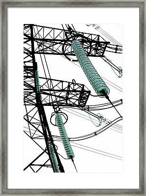 Pylon With Glass Insulator Strings Framed Print by Cordelia Molloy