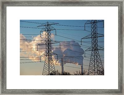 Pylons And Power Station Framed Print by Jim West