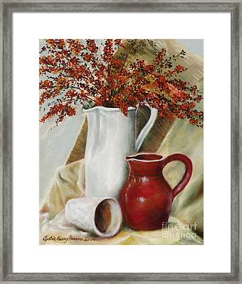 Framed Print featuring the painting Pyracantha by Cynthia Parsons