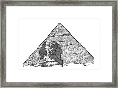Framed Print featuring the drawing Pyramid And Sphinx by Calvin Durham