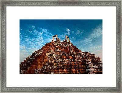 Pyramid At Angkor Thom Framed Print by Julian Cook