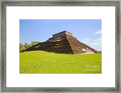 Pyramid At Comalcalco Framed Print by Ellen Thane