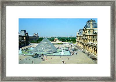 Framed Print featuring the photograph Pyramid At The Louvre by Kay Gilley