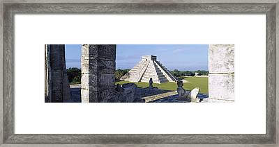Pyramid In A Field, El Castillo Framed Print