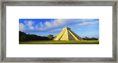 Pyramid In A Field, Kukulkan Pyramid Framed Print