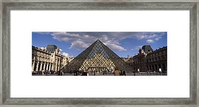 Pyramid In Front Of A Building, Louvre Framed Print