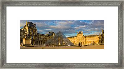 Pyramid In Front Of A Museum, Louvre Framed Print by Panoramic Images