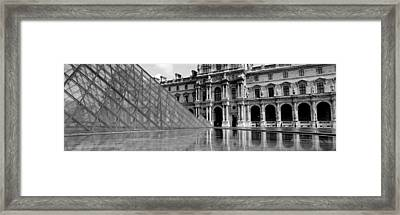 Pyramid In Front Of An Art Museum Framed Print by Panoramic Images