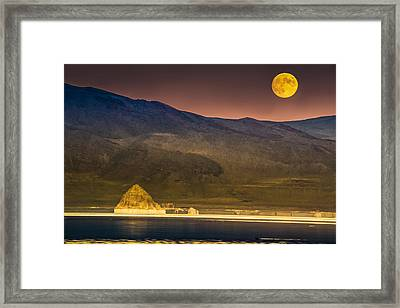 Pyramid Lake Moonrise Framed Print by Janis Knight