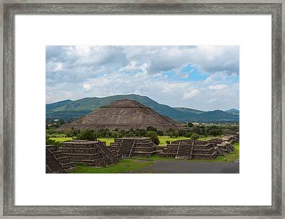 Pyramid Of The Sun As Viewed From Pyramid Of The Moon Mexico Framed Print