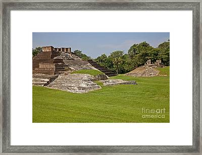 Pyramids At Comalcalco Archeological Framed Print by Ellen Thane