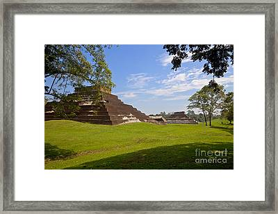 Pyramids At Comalcalco Framed Print by Ellen Thane