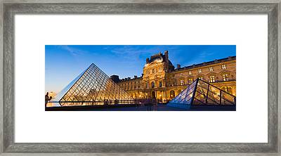 Pyramids In Front Of A Museum, Louvre Framed Print by Panoramic Images