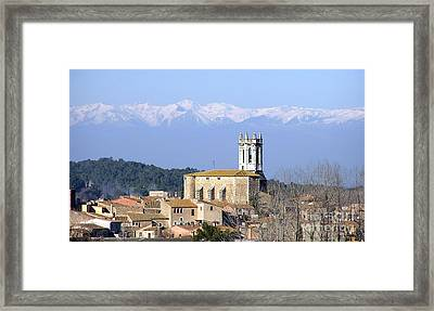Pyrenees And Castle At Pubol Framed Print