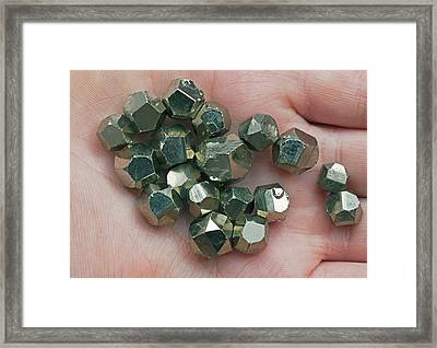 Pyrite Dodecahedrons I Framed Print by Dirk Wiersma
