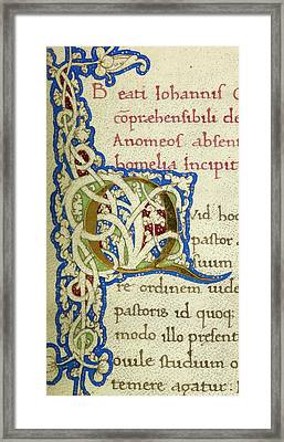Q From A Life Of Christ Manuscript Framed Print