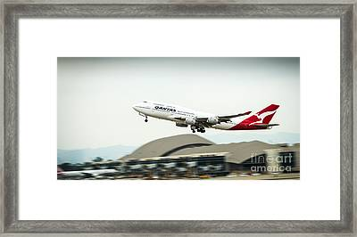 Qantas Boeing 747 Takes Off From Lax Framed Print