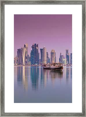 Qatar, Doha, Dhows On Doha Bay Framed Print