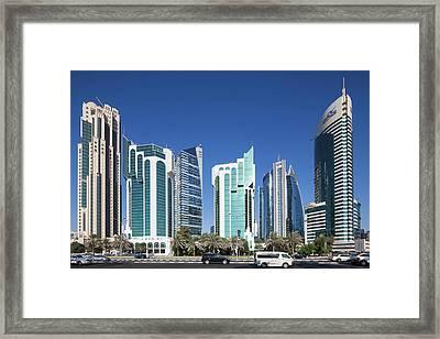 Qatar, Doha, Doha Bay, West Bay Framed Print