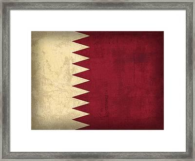 Qatar Flag Vintage Distressed Finish Framed Print by Design Turnpike