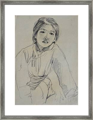 Qimuge Framed Print by Ji-qun Chen