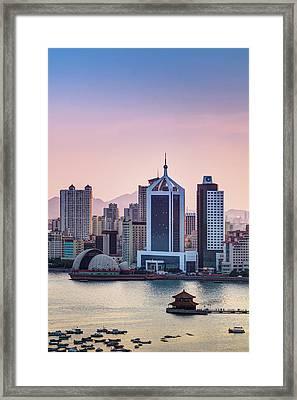 Qingdao Bay Sunset Scene Framed Print by Miragec