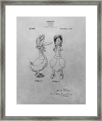 Quacky Doodles Patent Drawing Framed Print by Dan Sproul