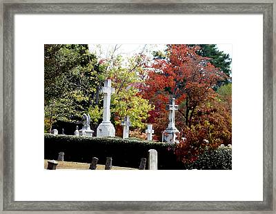 Framed Print featuring the photograph Quad Crosses In Fall by Lesa Fine