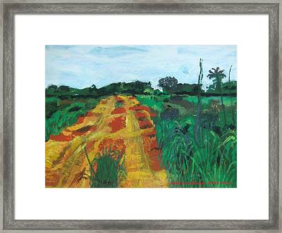 Quagmire To My Village Framed Print by Mudiama Kammoh