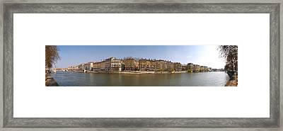 Quai Du Marechal Joffre Along The Saone Framed Print