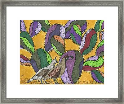 Quail And Prickly Pear Cactus Framed Print by Susie Weber