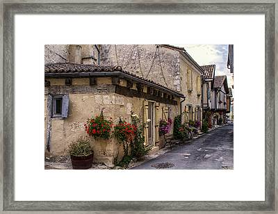 Quaint French Street In Issigeac Framed Print