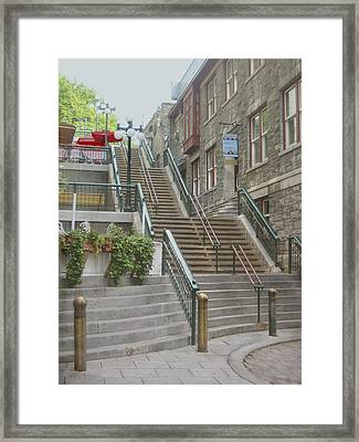 quaint  street scene  photograph THE BREAKNECK STAIRS of QUEBEC CITY   Framed Print by Ann Powell