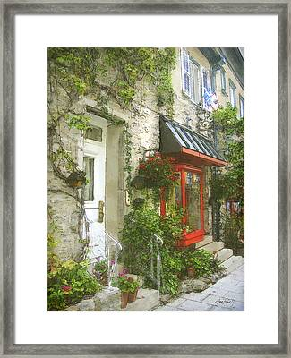 Quaint Street Scene Quebec City Framed Print by Ann Powell