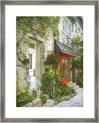 Quaint Street Scene Quebec City Framed Print