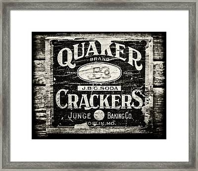Quaker Crackers Rustic Sign For Kitchen In Black And White Framed Print by Lisa Russo