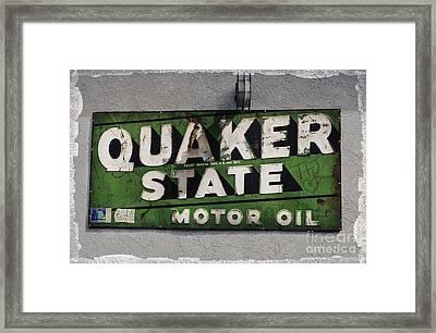 Quaker State Motor Oil Framed Print by Janice Rae Pariza