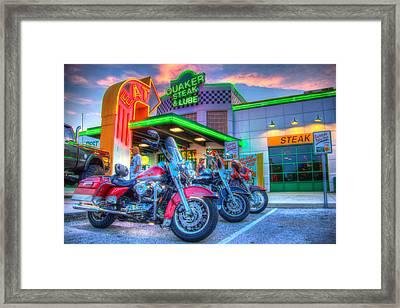 Quaker Steak And Lube Bike Night Framed Print by Zane Kuhle