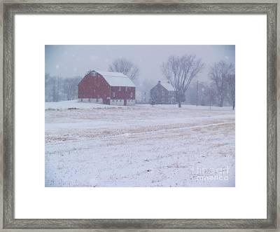 Quakertown Farm On Snowy Day Framed Print by Anna Lisa Yoder