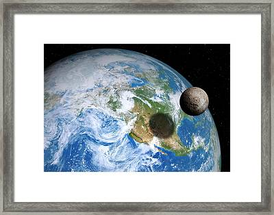 Quaoar Compared To Earth Framed Print by Detlev Van Ravenswaay