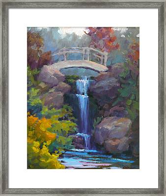 Quarry Hills Waterfall Framed Print by Carol Smith Myer
