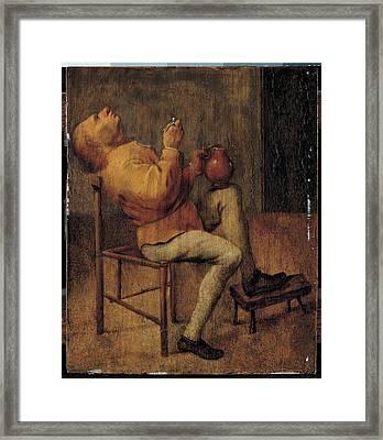Quast Pieter Jansz, The Smoker, 17th Framed Print by Everett